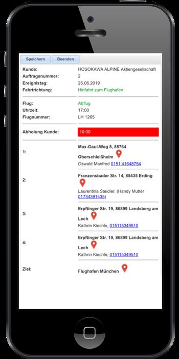 Routenplanung der webbasierten Dispositions-Software