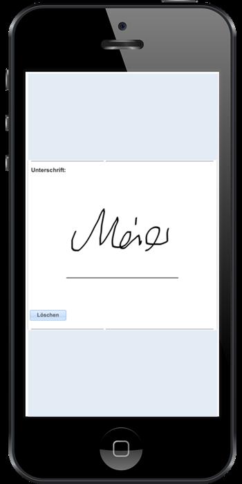 Unterschrift des Kunden der webbasierten Dispositions-Software